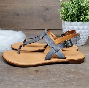 Kork-Ease T-strap Thong Sandals Gray Leather